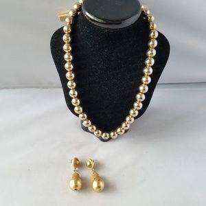 Monet Vintage Signed Gold Tone Bead Necklace